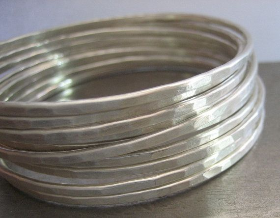 Essential Silver BangleHammered Sterling Silver by VictoriaTeague, $32.00