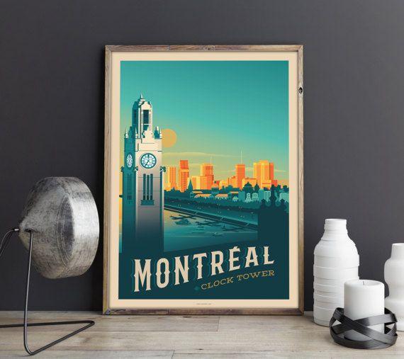 Retrouvez cet article dans ma boutique Etsy https://www.etsy.com/fr/listing/502950254/vintage-travel-poster-canada-montreal