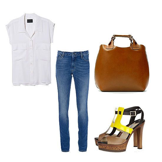 The Skinny Jean with pop of color sandals and big bag