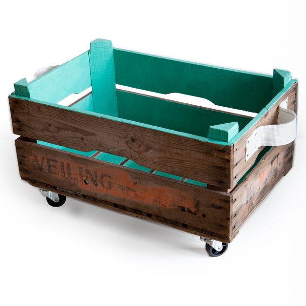 Modernize an old crate with casters and a coat of paint