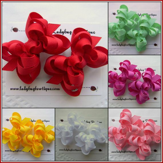 Pretty Pigtails - Mini Boutique Hair Bows- Choose Any Two - Small Stacked Hair Bows for Toddlers