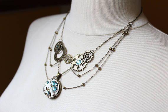 Unique handmade steampunk necklace elegant with bronze gears