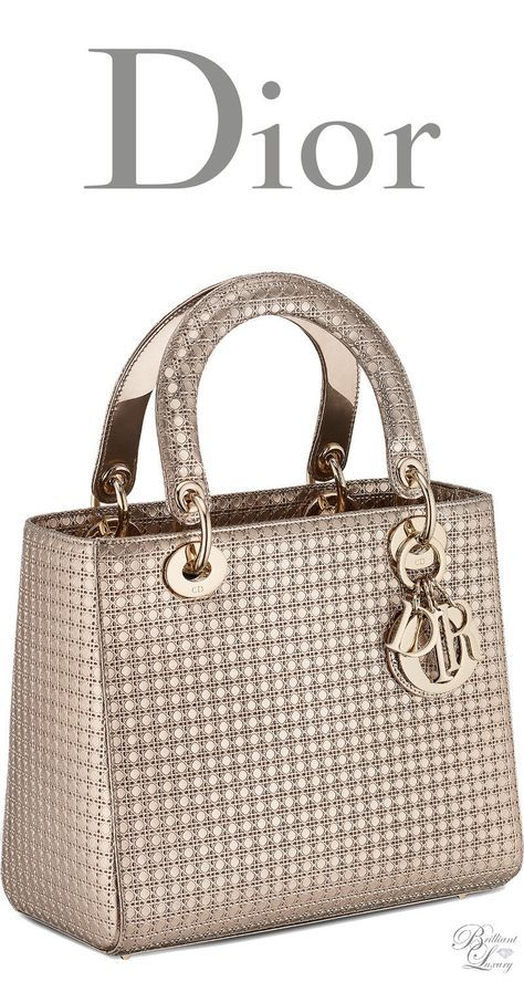 Brilliant Luxury   Dior Cruise 2016 ~ Lady Dior bag in champagne metallic  calfskin with micro-cannage motif cab7646499ee5