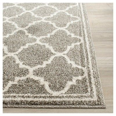 Camembert Rectangle 4' X 6' Outer Patio Rug - Dark Gray / Beige - Safavieh