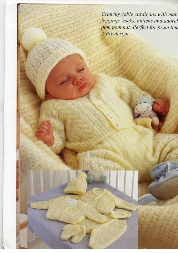 b190caed3 Download PDF Knitting Pattern Baby 4 ply Cable Cardigan Set to Knit ...