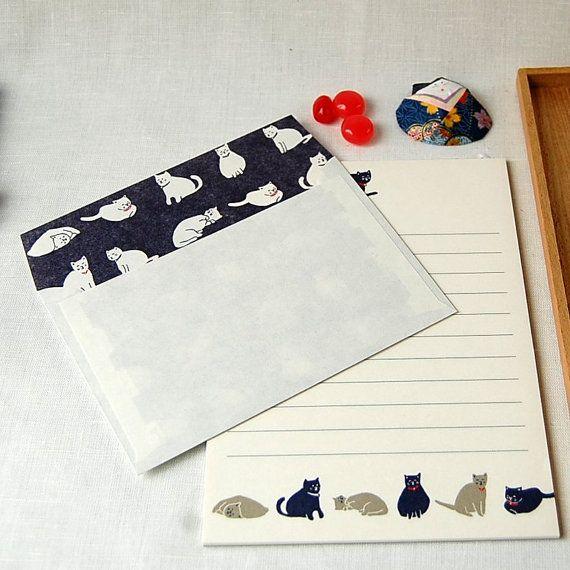 Set regular Size  letter writing set, note writing set, Cat  Buste e Carta da lettere,White and Blue