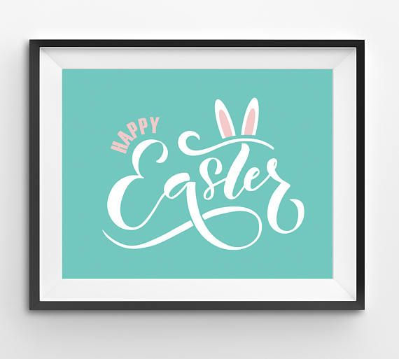 Happy Easter White Handwriting Typography Print with Pink