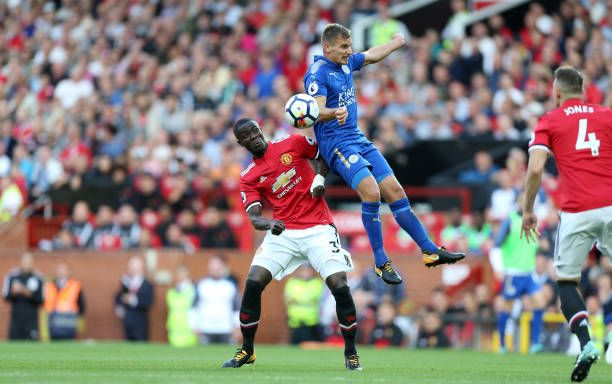 Marc Albrighton of Leicester City in action with Eric Bailly of Manchester United during the Premier League match between Manchester United and...