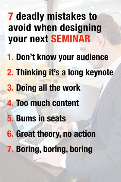 When it comes to teaching seminars, I think I've made all these mistakes.