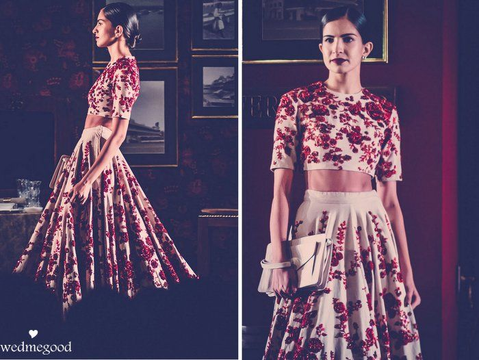 """""""The crop top silhouette , the sparkly red sequins against the cool , white lehenga """" - Sabyasachi  Bridal Collection ICW 2014 via wedmegood.com"""
