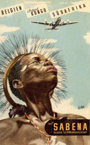 Vintage Airline Posters Sabena - Belgian Airlaine