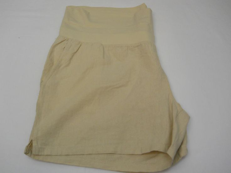 Women MATERNITY SHORTS Solid Khaki Linen SIZE 2XL Front Pockets Inseam 5 #GREATEXPECTATIONSMATERNITY #KhakiChino #Summer
