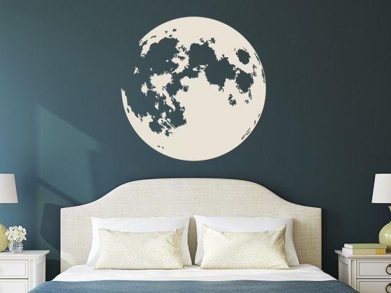 Mond Wandtattoo Vollmond als originelle Wanddekoration. #Wandgestaltung #Dekotrends #Mond
