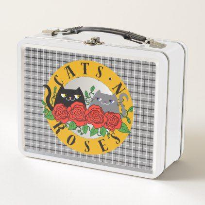 Cats 'N Roses Rock Music Cartoon Funny Cool Tartan Metal Lunch Box - cat cats kitten kitty pet love pussy