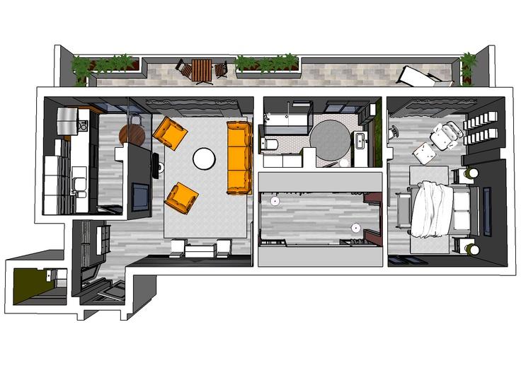 Bachelor Apartment: 3D Floor plan. | necesitounplano.com | Pinterest |  Apartments, Detached garage and House