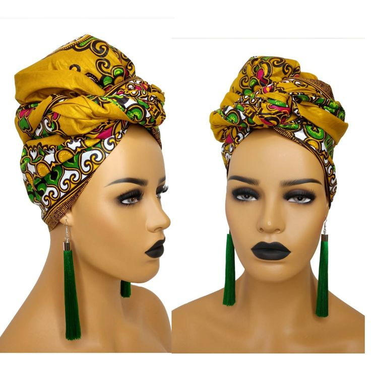African Head Wraps For Women Green, Ankara Clothing Headwraps, Headband Ankara Print Fabric, African Gift For Her, Natural Hair Protective