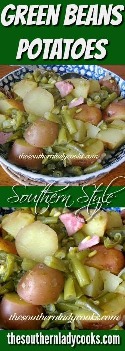 Green beans and potatoes is one of my favorite side dishes.   I grew up on this dish.  I remember when my mother cooked fresh green beans and potatoes straight from the garden seasoned with a ham …