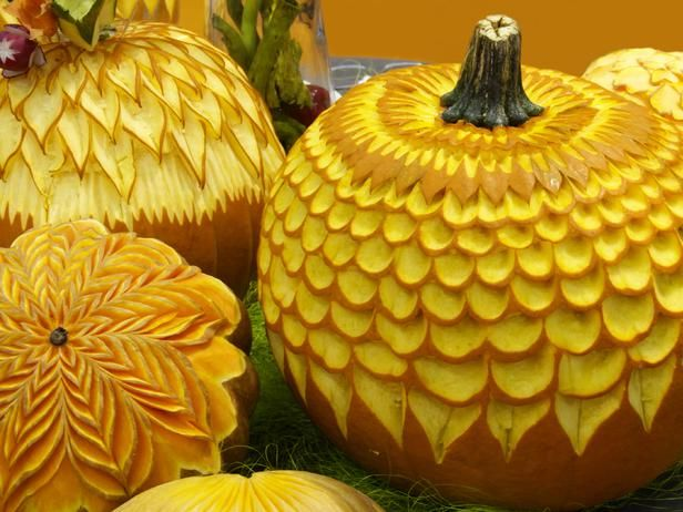 Carve leftover pumpkins with leaf patterns for Thanksgiving decor. >> http://www.diynetwork.com/decorating/15-creative-halloween-jack-o-lanterns/pictures/page-11.html?soc=pinterest