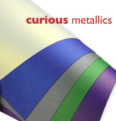 Curious Metallics - Paper For Innovative Designs.  Dual-sided metallic finish with a glittering luminescent sheen