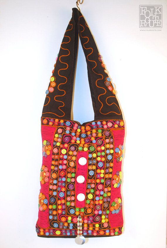 Gujrat Kutch New Long Shoulder Red Mix Bag by FolkRoute on Etsy