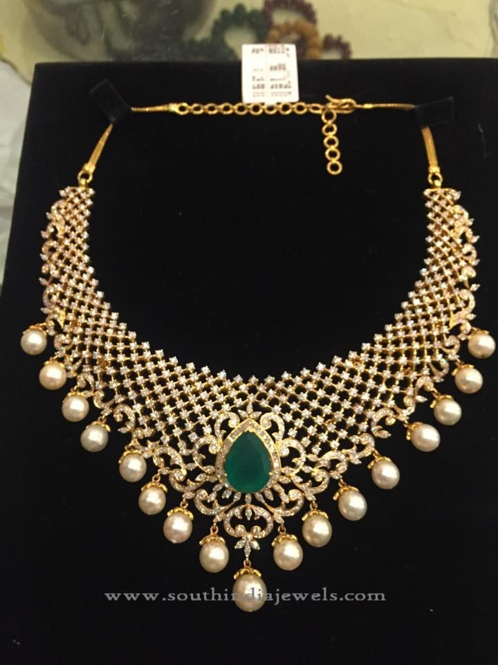 Designer Indian Diamond Necklace Set Diamond Diamond