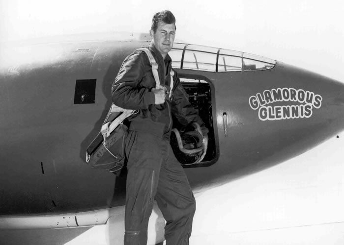 chuck yeager with his bell x-1 which was the first aircraft to break the sound barrier