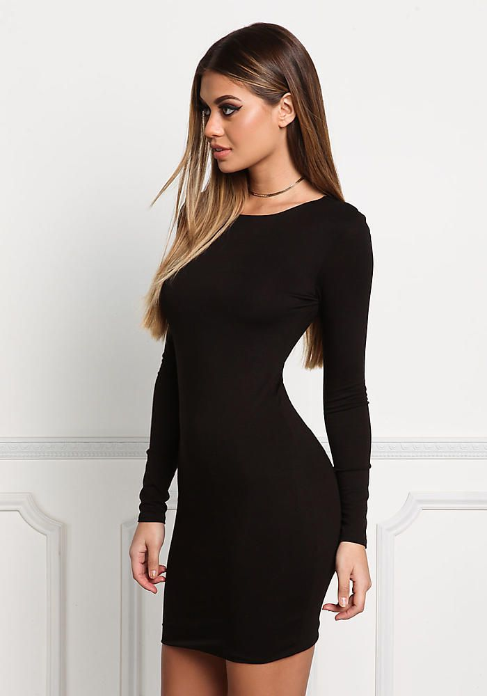 Black Minimalist Bodycon Dress - Dresses