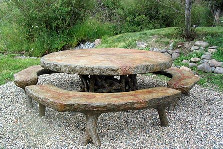 faux bois concrete outdoor table from http://www.studiocortes.com/tables/