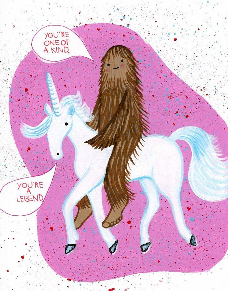 Bigfoot riding a unicorn.