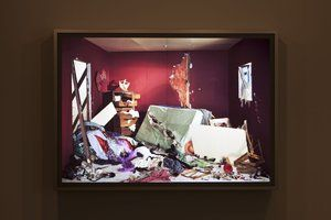 Jeff Wall Photographs :: Museum of Contemporary Art Australia. Artist: Jeff Wall. The destroyed Room, 1978. Contemporary photographer. Born in Canada & now living in London. This work is an example of his 'cinematographic' photographs which he made as transparencies displayed in light boxes. Used b&w film and digital photographic techniques as well as constructing amazing installations.