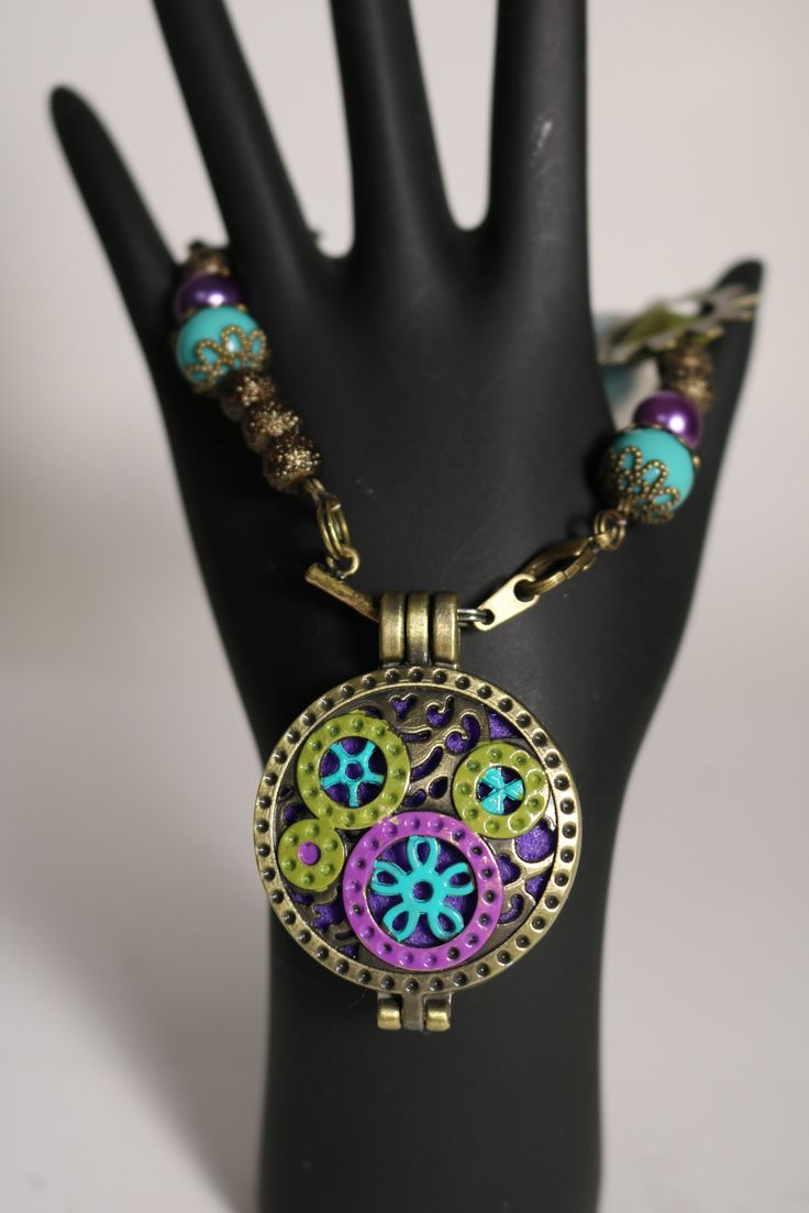 Tinker Purple, Turquoise and Olive Hand Painted Diffuser Locket Bracelet