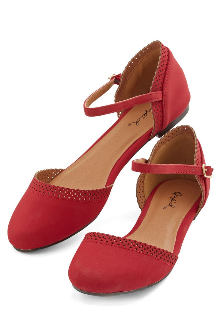 Cute Across Campus Flat in Red - Flat, Faux Leather, Red, Solid, Cutout, Casual, Good, Variation, Scallops, Slingback