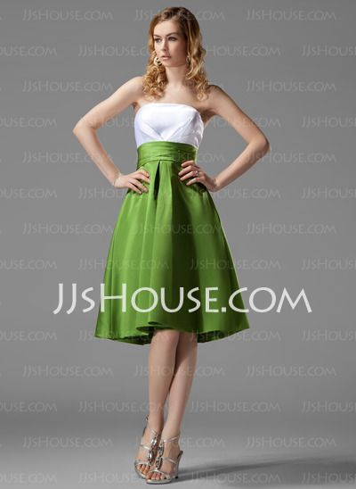 Bridesmaid Dresses - $89.49 - A-Line/Princess Strapless Tea-Length Satin Bridesmaid Dresses With Ruffle (007004122) http://jjshouse.com/A-line-Princess-Strapless-Tea-length-Satin-Bridesmaid-Dresses-With-Ruffle-007004122-g4122