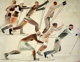 Художник Александр Дейнека. . Лыжники. 1926 г
