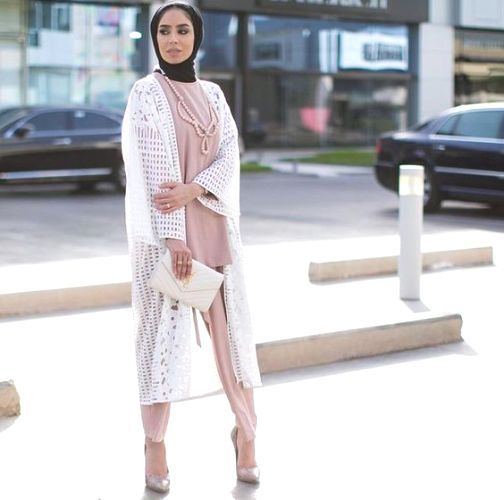 white lace cardigan with blush outfit