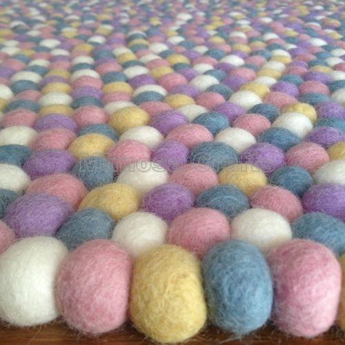 Baby Soft Genuine Mimosa Design 100% Wool Felt Ball Rugs Kids Nursery Bright Mat