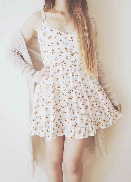 cute floral dress with sunflowers and a flowy cardigan
