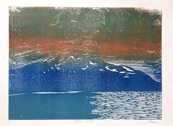 Norweigan Fjords art print, linocut original art print - Norway landscape art - abstract art