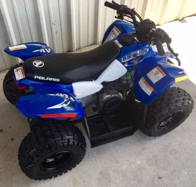 Used 2013 Polaris Outlaw 50 Boardwalk Blue/White ATVs For Sale in Georgia. 2013 Polaris Outlaw 50 Boardwalk Blue/White, 2013 Polaris Outlaw 50. THE BEST SELLING YOUTH ATV EVER! Contact RJ at 478-538-8174 2013 Polaris® Outlaw® 50 BEST SELLING YOUTH ATV Outlaw® 50 - Best-Selling Youth ATV. Polaris® builds the best-selling youth ATVs. The Outlaw® 50 has a 4-stroke 50 engine, 2WD and electric start. Features May Include 4-Stroke Engine Two-Wheel Drive Electric Start Daytime Running Lights…