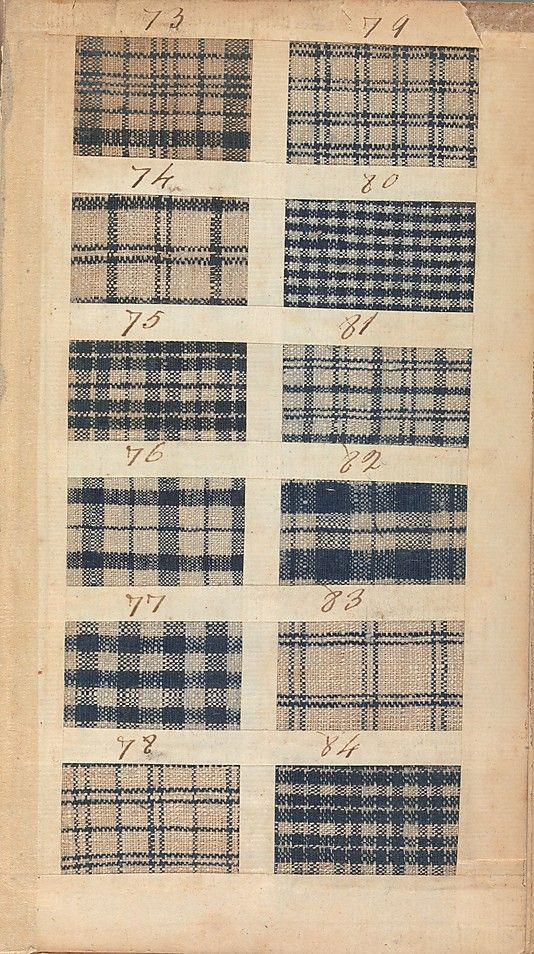 In 1771 this sample book brought over  on the brigantine Havannah. Its five hundred swatches, made by the Manchester manufacturing firm of Benjamin and John Bower, represent the type of inexpensive cloth worn by sailors, artisans, and enslaved persons. From Angela * checks of English manufacture (linen/cotton) show up frequently in the 50's and early 60's in the Foundling Hospital tokens.  The diversity here is somewhat representative of the varying patterns throughout the collection.