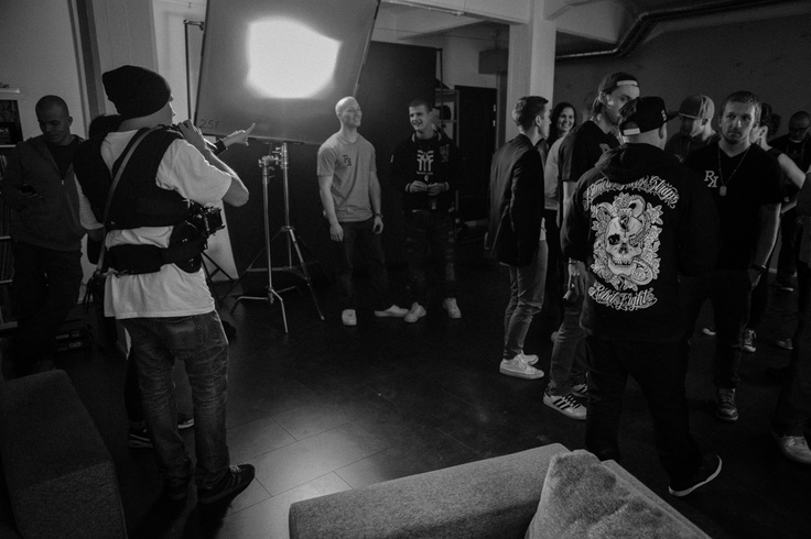 Behind the scenes at the Happee video shoot. Photography by Santi Fox