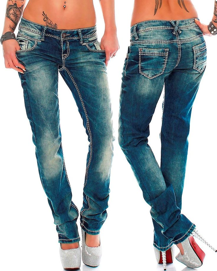 Cipo & Baxx Sexy Damen Jeans Hose Hüftjeans Regular Fit Stretch Röhre Dicke Naht