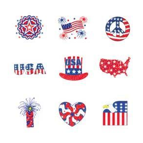 Patriotic Glitter Tattoos
