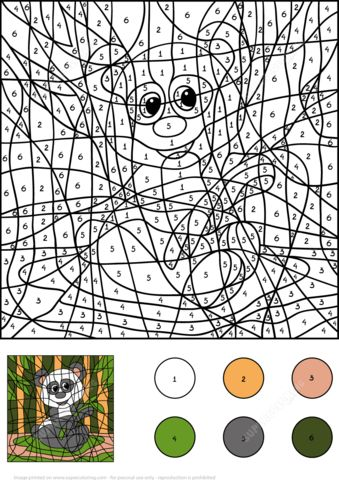Panda Color By Number Coloring Page From Worksheets Category Select 24659