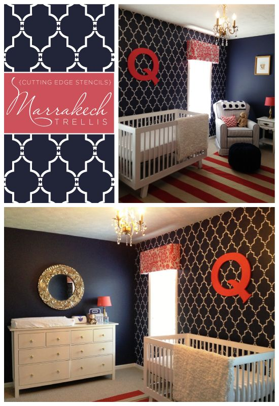 Beautiful Marrakech Trellis stenciled nursery idea that would work for either a girl or boy because of its bold color choice and pattern design. http://www.cuttingedgestencils.com/moroccan-stencil-marrakech.html