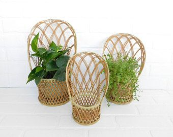 Vintage Set of 3 Wicker Baskets, Boho Decor, Wicker Chair Baskets, Bohemian, Rattan Basket