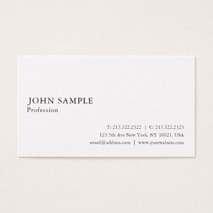 Elegant White Professional Simple Plain Modern Business Card - classic gifts gift ideas diy custom unique