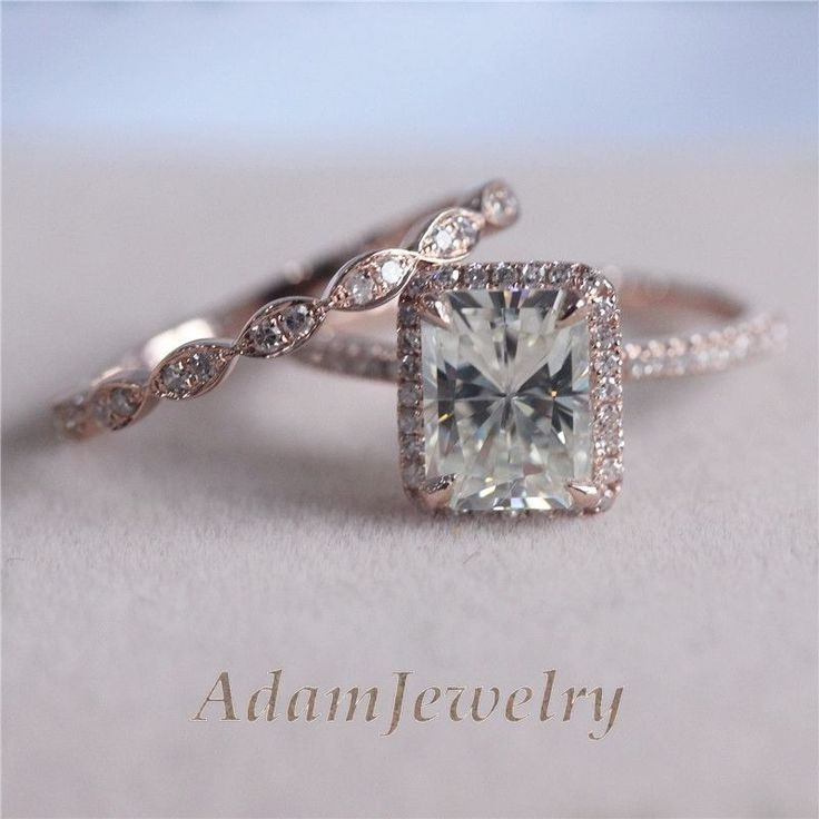 Moissanite Wedding Ring Set In 6x8mm Emerald Cut Solid 14k Rose Gold Engagement Just the band.