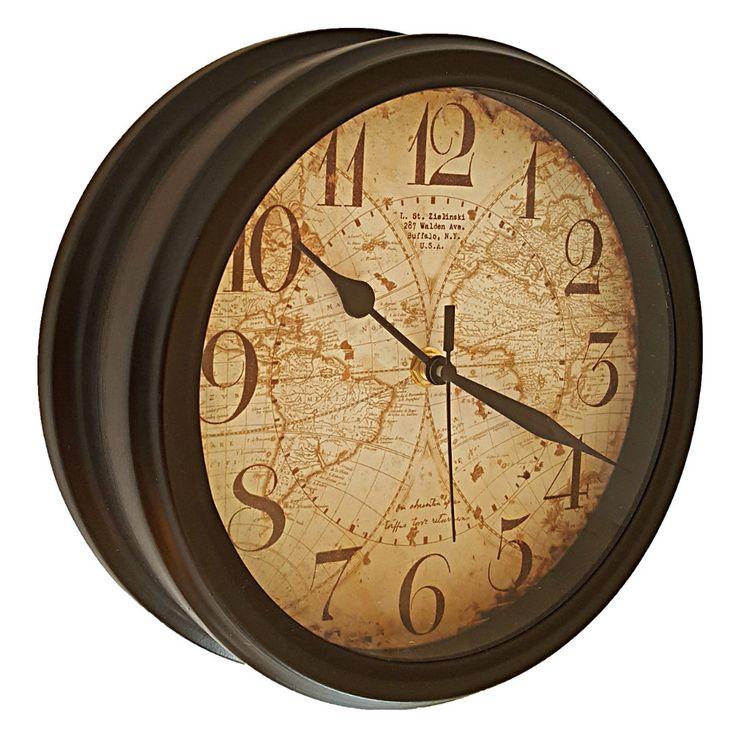 Ceas perete Vintage maro cu harta lumii vintage si cifre arabe. Comanda ceas perete vintage metalic pe aa-design-interior.ro.