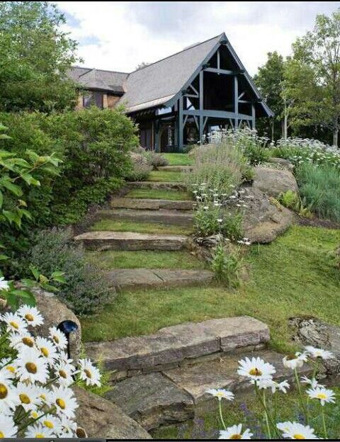 17 best images about steps up a slope on pinterest for Landscaping a hill with rocks